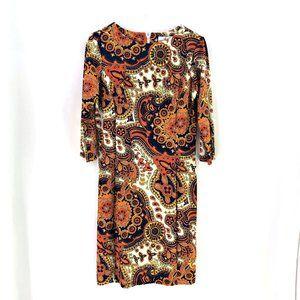 Jude Connally Orange Cream Paisley Shift Dress